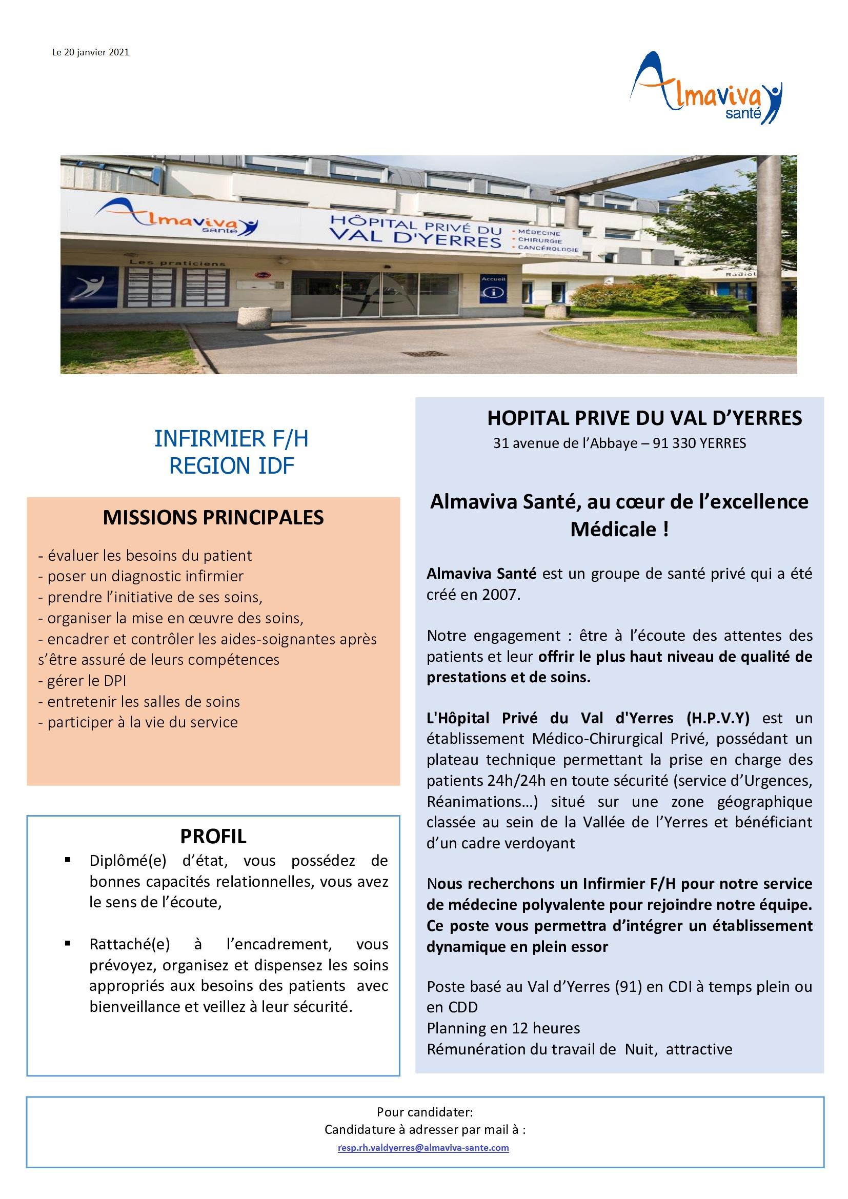 L'Hopital Privé du Val d'Yerres recrute!